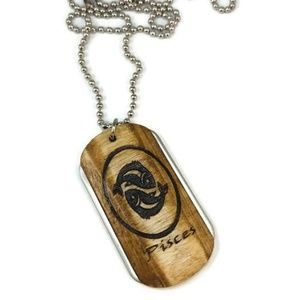 Pisces Wood and Stainless Steel Dogtag